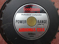 Vintage Goodmans loudspeaker, Audiomax-12AX, 312mm diam, 8 Ohms. Second similar older one available.