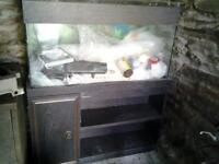 fish tank with cabinet underneath + filters and other equipment