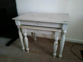 French antique style painted pine stackable coffee tables
