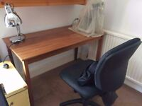 Solid hardwood desk and office chair