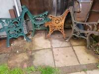 4 pears of Cast iron bench ends