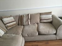 Cream and Brown corner sofa