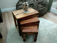 Rustic Solid Wood Nest of 3 Tables