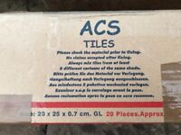 ACS white bathroom tiles.