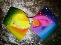 "RAINBOW OMBRE or CHERRIES 8"" LARGE JOJO STYLE BOWS"