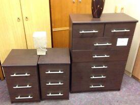 Darkwood Chest of Drawers & Bedside Cabinet