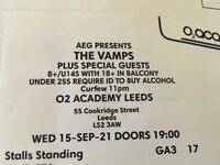 The Vamps Leeds 15th Sept standing £25 each