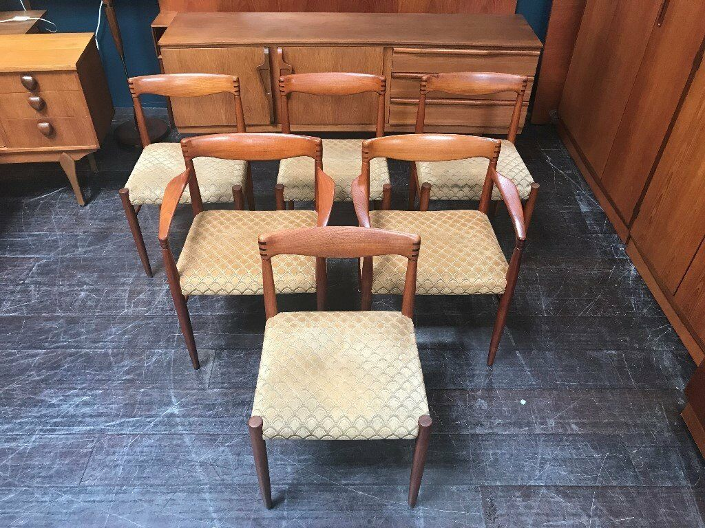 6 Danish Dining Chairs By H W Klein For Bramin Retro Vintage Mid Century