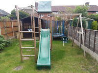 Dunster House Wooden Climbing Frame with Wavy Slide & Swings RRP 489.99