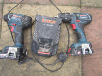bosch 18v drill driver with impact drill ,charger and 2 batteries 1.5 ah