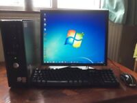 "Dell Desktop Computer 19"" Flat Screen Monitor + 160GB HDD + 4GB RAM + Genuine Windows 7 Installed."