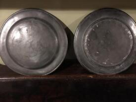 Antique Pewter Plates (2)