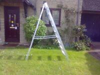 Builders' 10 rung strong aluminium step ladder