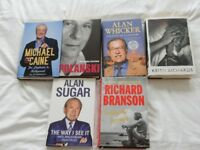 A SELCTION OF SIX HARDBACK BIOGRAPHIES - ALL IN EXCELLENT CONDITION