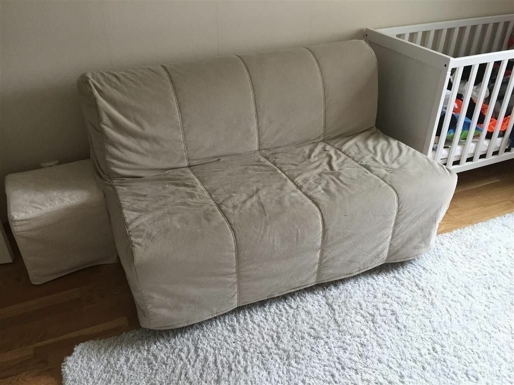 Beige Ikea Lycksele Double Sofa Bed Settee Futon Couch