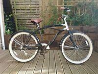 "Black 19"" Frame Classic California Beach Style Comfort Cruiser Men's Bike 26"" Wheel with Mudguards"