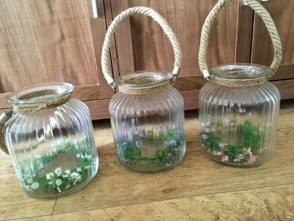 Three Large Ribbed Glass Candle Jars Wedding Decoration In Beddau