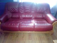 Red Leather Sofa with wooden frame