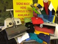 T Shirt Press, Vinyl Cutter, Vinyl and Quantity of T Shirts. Full business Start Up Opportunity