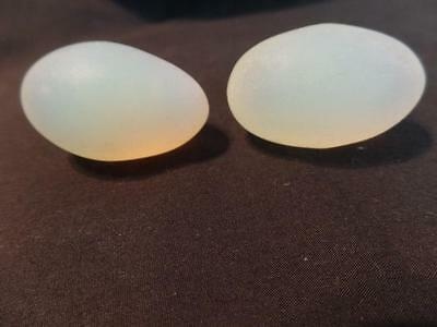 Two Vintage Matte Satin Opalescent Sabino Appearance Glass Eggs - Unmarked