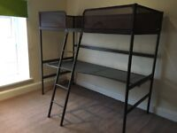 Ikea high sleeper single bed with desk