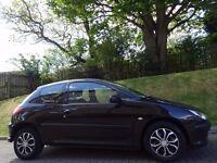 Bargain-P/X! (2005) PEUGEOT 206 S HDi 3dr BLACK- MOT 1 YR- FSH- Low Mileage- Cheap Road TAX- 60+ MPG