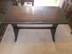 Dark wood veneer solid pub table . 1970s gc