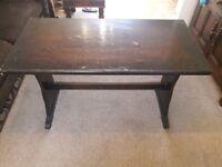 Dark wood veneer solid pub table . 1970s gc