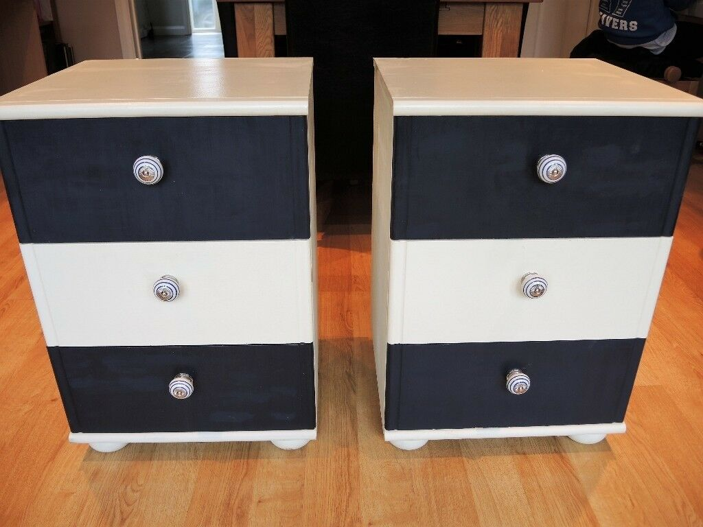 Chest of drawers / bedside tables x 2 in shabby chic nautical colours