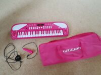 Electronic Keyboard 49 Keys and Microphone Pink Childrens