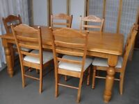 MALAYSIAN SOLID WOODEN FARMHOUSE STYLE DINING TABLE WITH SIX MATCHING DINING CHAIRS FREE DELIVERY