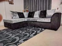 BRAND NEW STYLISH JULIE CRUSH VELVET CORNER SOFA OR 3+2 NATIONWIDE DELIVERY