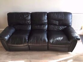 Black Leather Reclining Sofa - Battersea