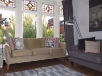 Beige/Camel Scandi Inspired 3 Seater Sofa