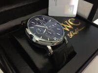 New Swiss IWC Schaffhausen Leather Strap CHRONOGRAPH Watch