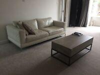 3-Seater Cream Leather Sofa