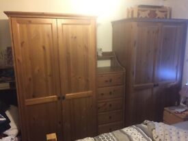 Solid Pine Wardrobes & Matching Drawers IKEA Bedroom Clothes Hanger Storage