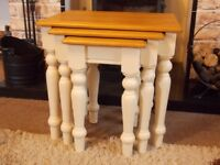 SHABBY CHIC NEST TABLES PAINTED IN ANNIE SLOAN OLD OCHRE (CREAM)