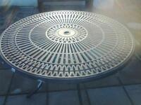 large circular cast aluminium patio table