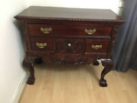 Table & Cabinet for sale. Antique wood with ornate decoration great condition.