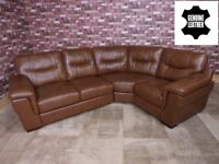 QUALITY EX DISPLAY 'DAYSON' 2 PIECE CURVED CORNER SOFA IN ANTIQUE BROWN GENUINE LEATHER SETTEE/SUITE