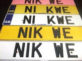 NIK NIKWE NUMBER PLATE - N1K WE OR N1 KWE
