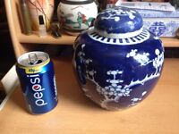 Large Chinese Blue & White Prunus Blossom Ginger Jar - Kangxi Mark.