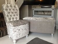 SILVER CRUSHED VELVET CHAIR & OTTOMAN