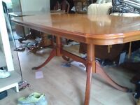Regency dining table, Strongbow, Yew wood, 155-195CM, extendable,no chair