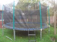 14ft trampoline with enclosure and solid ladder excellent condition.