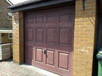 Up and over 7 x 7 brown woodgrain-effect garage door