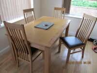 DINING TABLE AND 5 CHAIRS SOLID OAK 5 FOOT LONG 3 FOOT WIDE FIRST £100 BUYS