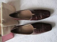 Kays ladies brown leather court shoes in excellent condition, heels 2 inches, rarely used,