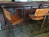 New Boxed Pair of Large Highback Vintage Leather Bar Stools